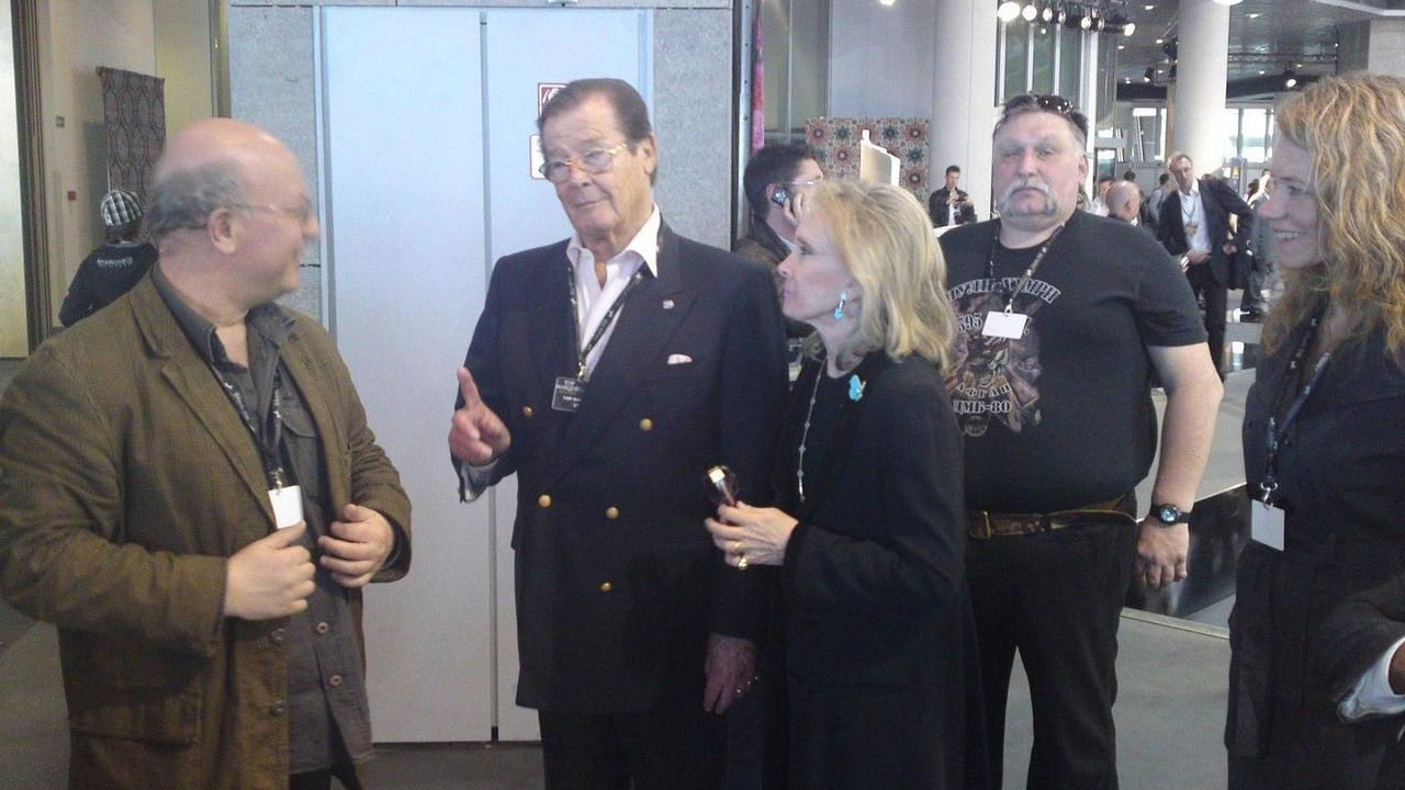 Roger Moore at Dartz stand speaking with Dartz boss Leonard F. Yankelovich at Top Marques Monaco 2010. 05.05.2010