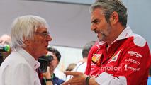 (L to R): Bernie Ecclestone, with Maurizio Arrivabene, Ferrari Team Principal