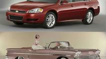 top: 2008 Chevrolet Impala LT; bottom: 1958 Chevrolet Impala