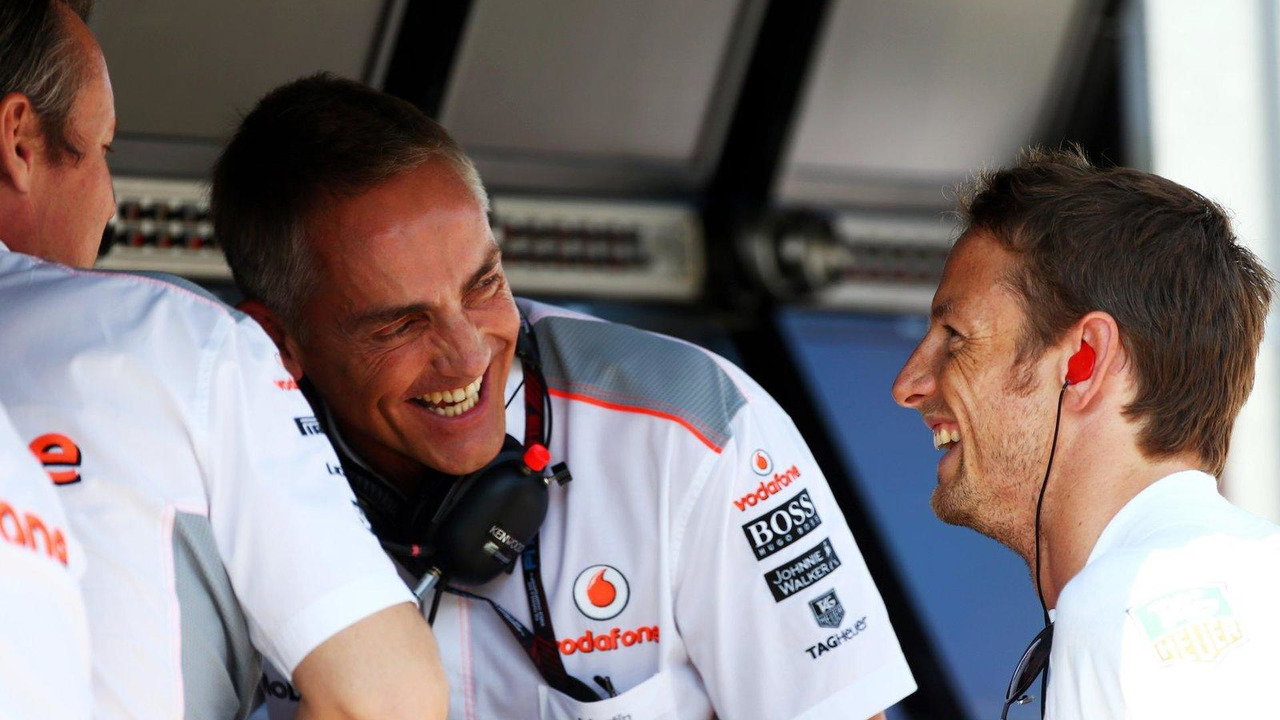 Sam Michael with Martin Whitmarsh and Jenson Button 26.07.2013 Hungarian Grand Prix