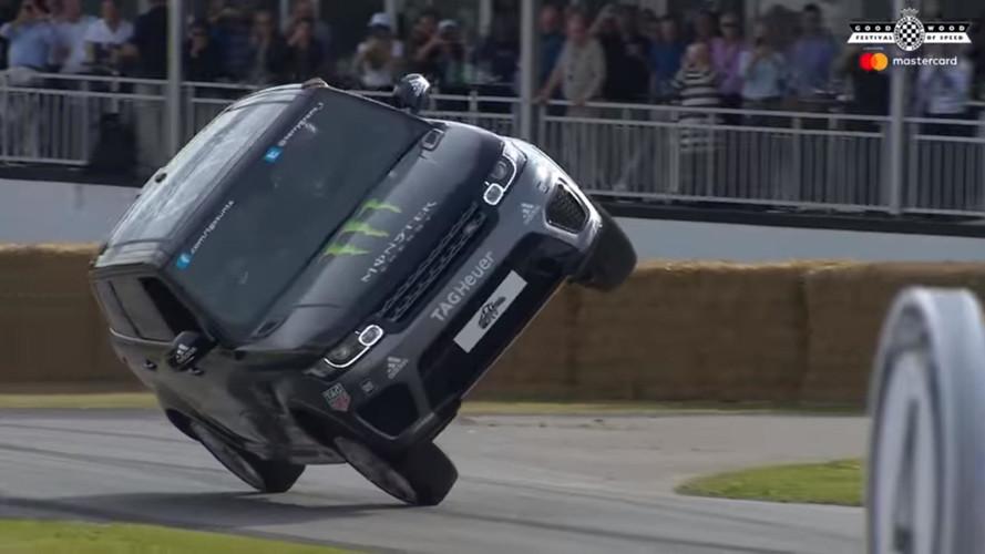 Range Rover Sport SVR dá uma de moto no Festival de Goodwood