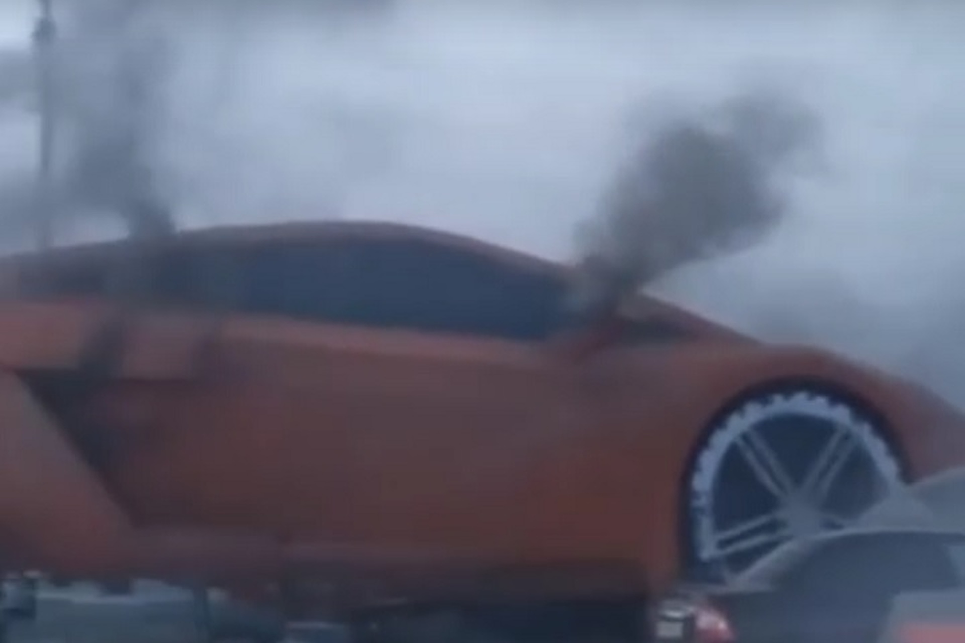 Watch a Giant Lamborghini Sculpture Catch Fire
