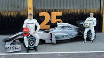 Mercedes GP W01 car launch, Michael Schumacher (GER), Nico Rosberg (GER), Valencia, Spain, 01.02.2010
