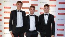 George Russell, campeón de GP3, Lando Norris, McLaren y Charles Leclerc, campeón de la F2