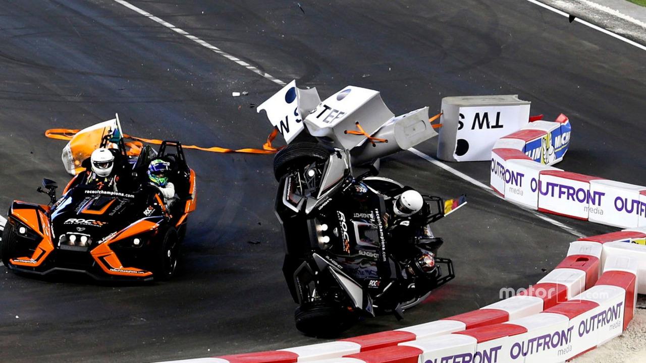 Crash, Pascal Wehrlein and Felipe Massa on the Polaris Slingshot SLR