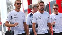 Jenson Button, McLaren with team mate Fernando Alonso, McLaren