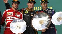 FErnando Alonso, Kimi Raikkonen, Sebastian Vettel, Australian Grand Prix podium 17.03.2013