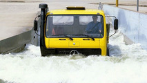 Mercedes trailer truck in the fording basin