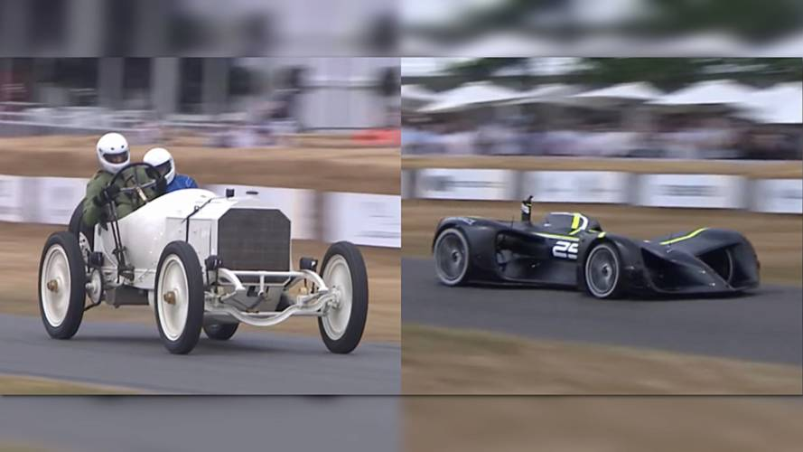 Century Of Progress: 1908 Merc Duals With Driverless Race Car At FoS