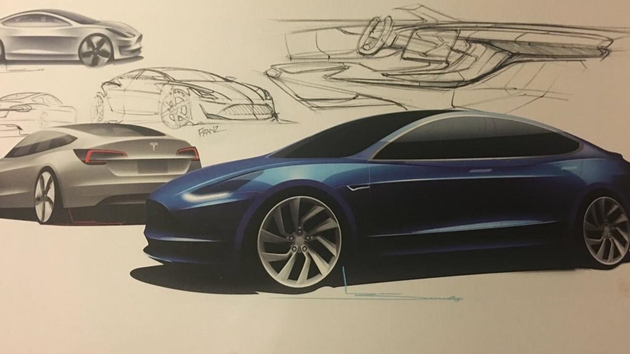 2018 Tesla Model 3 tasarım eskizi