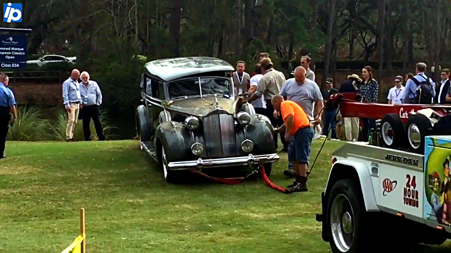 Packard impersonates submarine, plunges into water at concours event