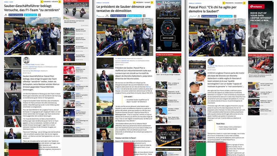 La edición Suiza de Motorsport.com, en tres idiomas
