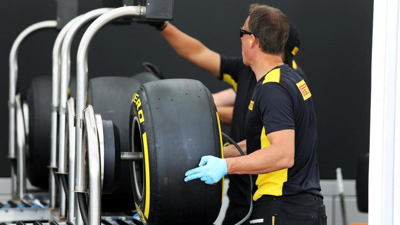 Pirelli tyre construction in the paddock, 24.07.2014, Hungarian Grand Prix, Budapest / XPB