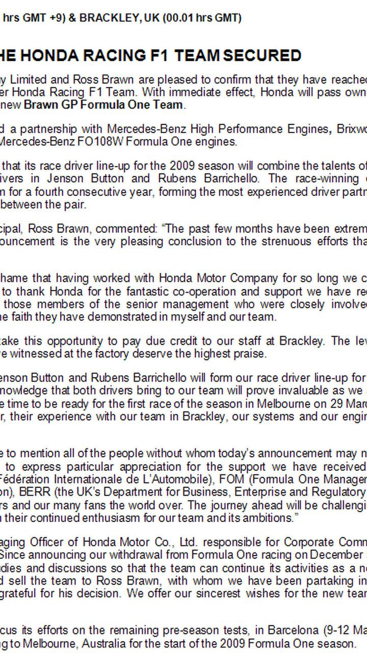 BrawnGP press release image