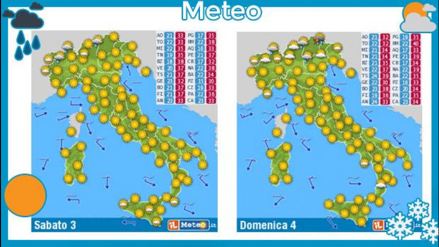Meteo del fine settimana 3 e 4 agosto: bel tempo e caldo estivo ovunque