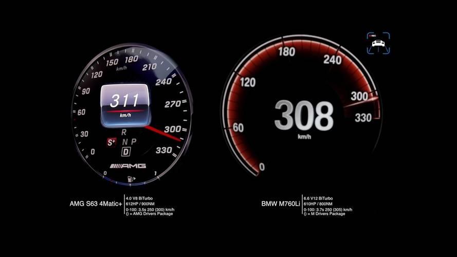 Mercedes-AMG S63 ile BMW M760Li'ın hızlanma ve maksimum hız karşılaştırmaları
