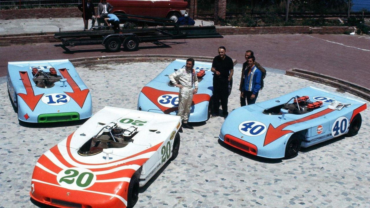 Porsche Team of 908 03 Spyders prior to the 1970 Targa Florio, 24.06.2010