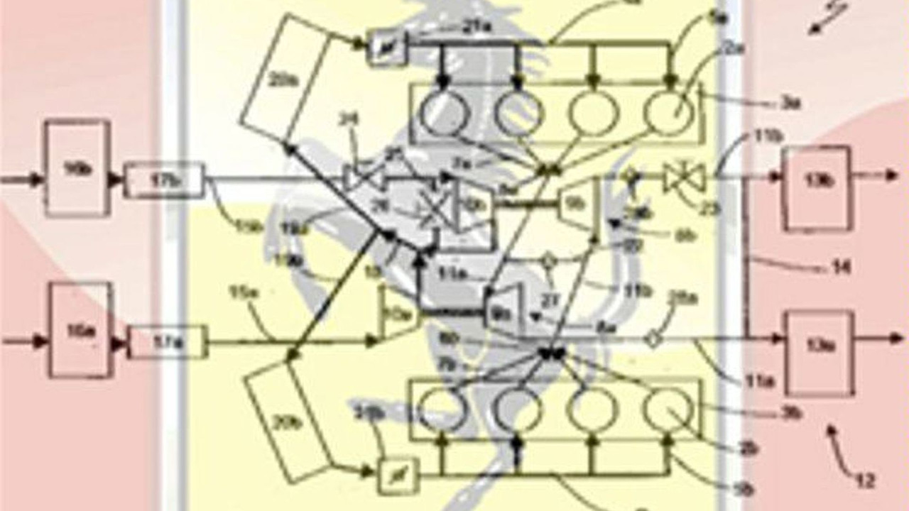 Ferrari twin turbo V8 engine patent schematic