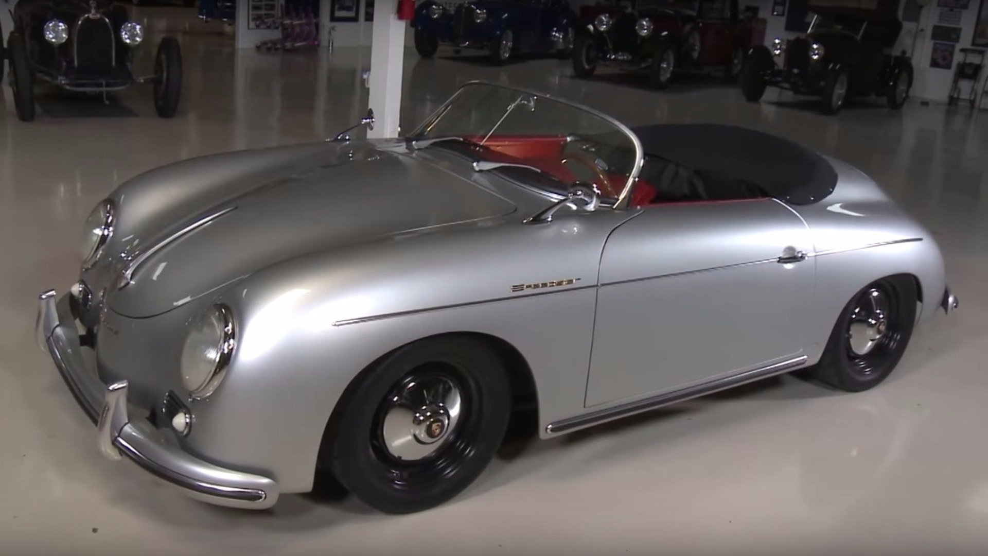 jay leno tries a porsche speedster replica with an unusual. Black Bedroom Furniture Sets. Home Design Ideas