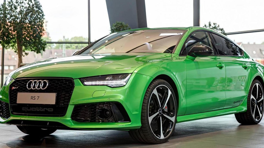 Audi RS7 Sportback painted in Apple Green Metallic looks striking