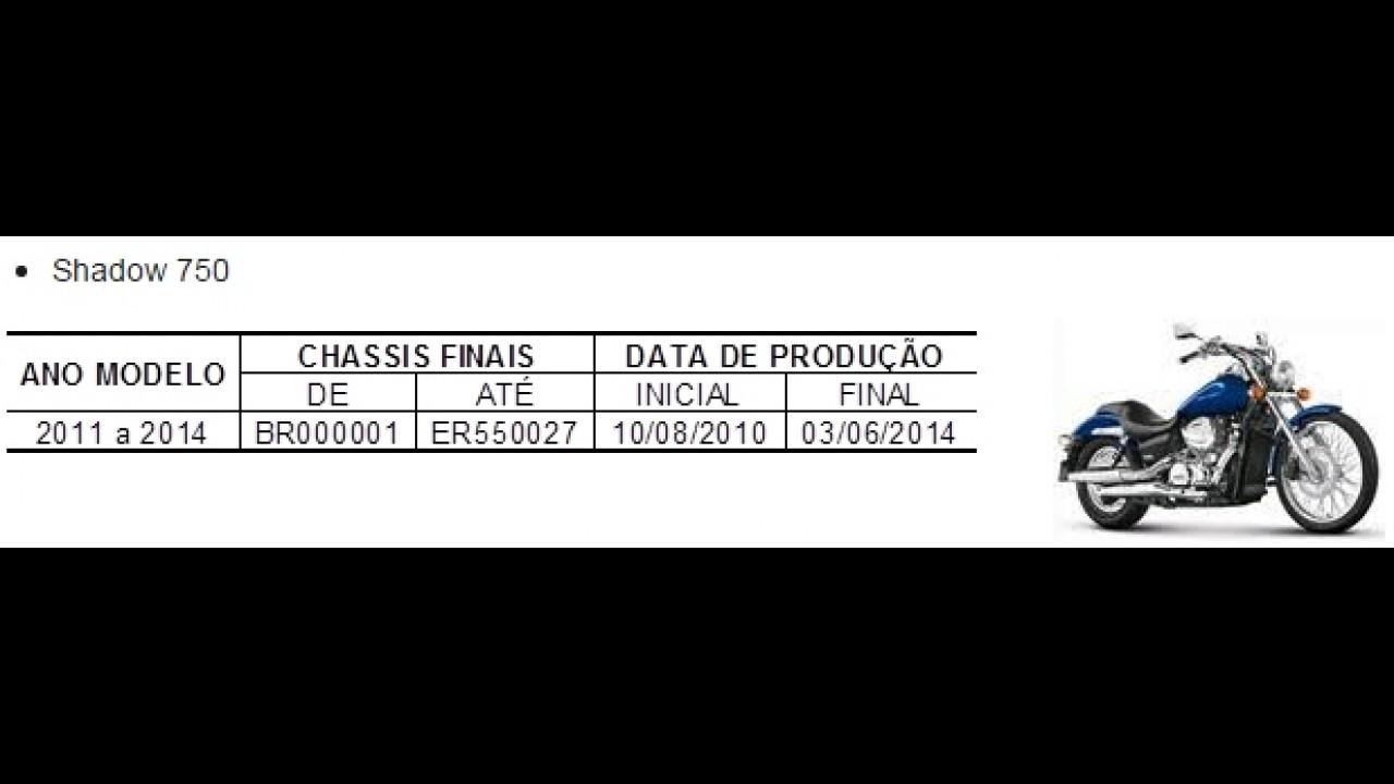 Recall: Honda convoca 2.842 unidades da Shadow 750 no Brasil