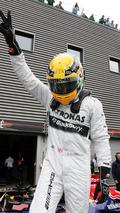 Lewis Hamilton (GBR) Mercedes AMG F1 celebrates his pole position in parc ferme 24.08.2013