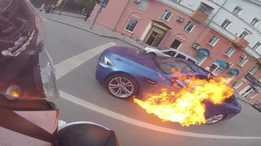 BMW M5 Suddenly Catches Fire After Brief Street Race