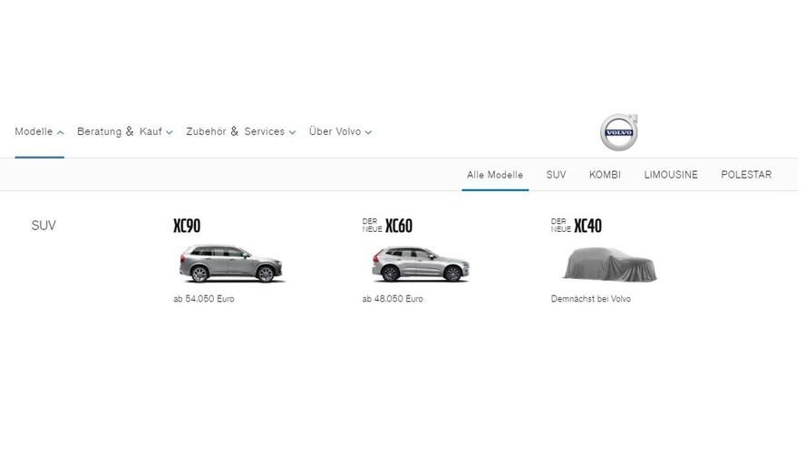Volvo annonce le XC40 sur son site internet