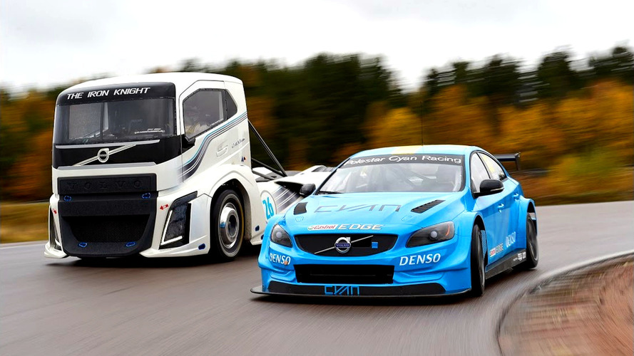 Volvo's 2,400-hp semi truck and S60 Polestar race car go head-to-head