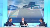 President of the FIA Endurance Commission Lindsay Owen-Jones, presenter Bruno Vandestick, ACO president Pierre Fillon