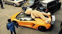DMC Lamborghini Aventador with giant teddy bear