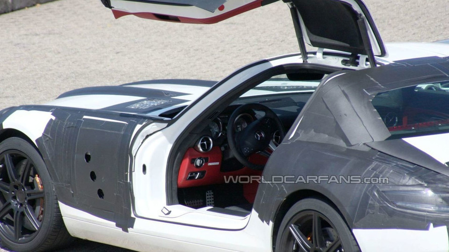White Mercedes SLS AMG Gullwing latest spy pics at Nurburgring