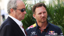 (L to R): Jerome Stoll, Renault Sport F1 President with Christian Horner, Red Bull Racing Team Principal