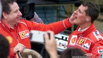 Race winner and 2000 World Champion Michael Schumacher, Ferrari with Jean Todt