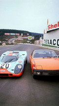 Porsche 917 short tail and a VW-Porsche 914 1.7 on the track of Spa-Franchorchamps (1970)