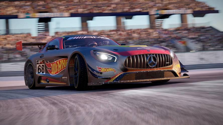 Cinco Hot Wheels a escala, procedentes del videojuego Project Cars 2