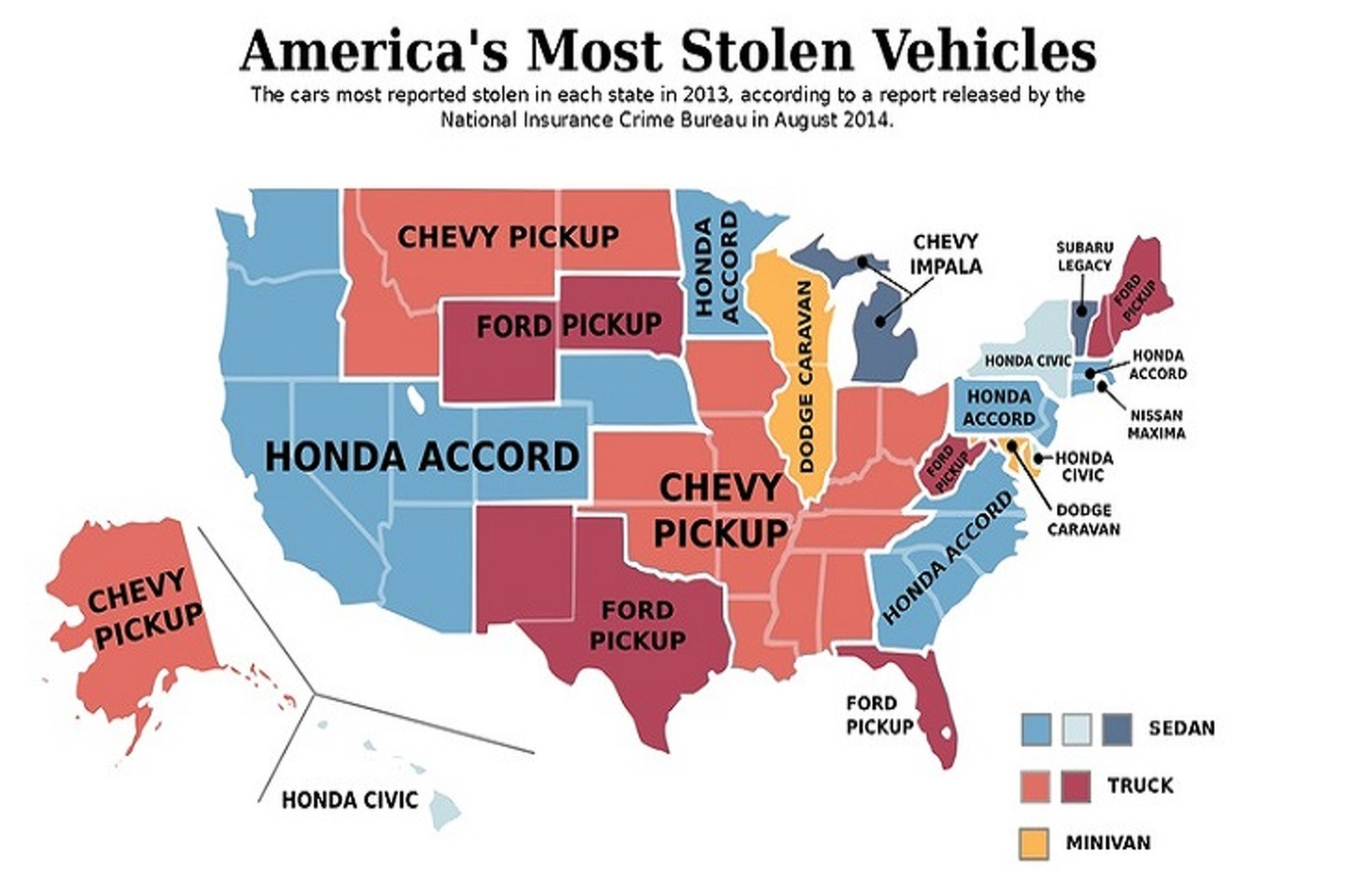Map Of Most Stolen Cars In The US Might Surprise You - Ford vs chevy us map