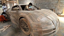 Full-size wood Bugatti Veyron replica