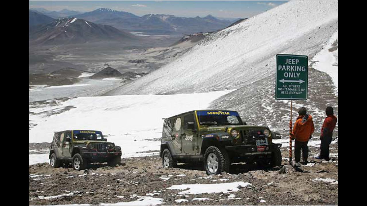 Der höchste mit dem Auto erreichte Punkt der Erde: 6.646 Meter (Jeep Wrangler)