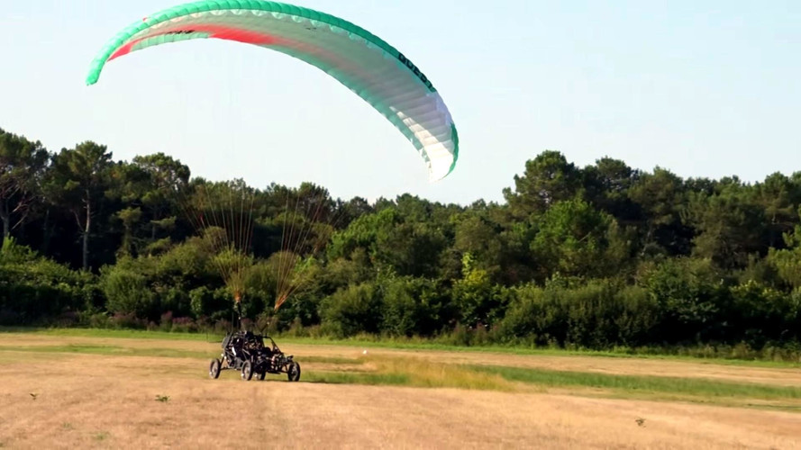 Flying Car With Parasail Crosses The English Channel