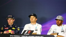 FIA Press Conference- Max Verstappen, Red Bull Racing, second; Nico Rosberg, Mercedes AMG F1, race winner; Lewis Hamilton, Mercedes AMG F1, third