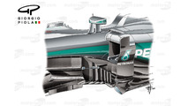 Mercedes W07 barge boards, Spanish GP