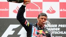 Mark Webber, winner, 2009 German Grand Prix, celebrates on podium