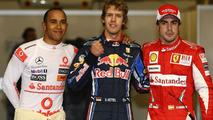 Lewis Hamilton (GBR), McLaren Mercedes with pole man Sebastian Vettel (GER), Red Bull Racing and Fernando Alonso (ESP), Scuderia Ferrari - Formula 1 World Championship, Rd 19, Abu Dhabi Grand Prix, Saturday Qualifying, 13.11.2010