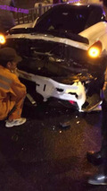 Nissan police pickup truck crashes into Ferrari 458