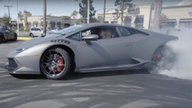 Sam and Stina Hubinette drift a Lamborghini Huracan