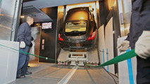 Porsche Panamera straight up in the freight elevator at Shanghai World Financial Center