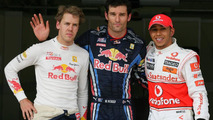 Mark Webber (AUS), Red Bull Racing gets pole position, 3rd position for Sebastian Vettel (GER), Red Bull Racing and 2nd for Lewis Hamilton (GBR), McLaren Mercedes - Formula 1 World Championship, Rd 7, Turkish Grand Prix, Saturday Qualifying