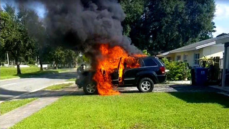 Vidéo - Quand un smartphone met le feu à un Jeep Grand Cherokee