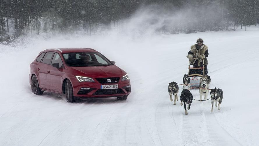 La SEAT Leon Cupra ST affronte des huskies en Finlande